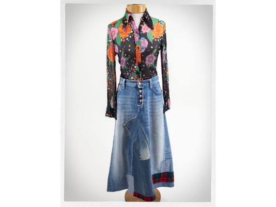 Handmade Patchwork Skirt, Patchwork Denim Skirt, P