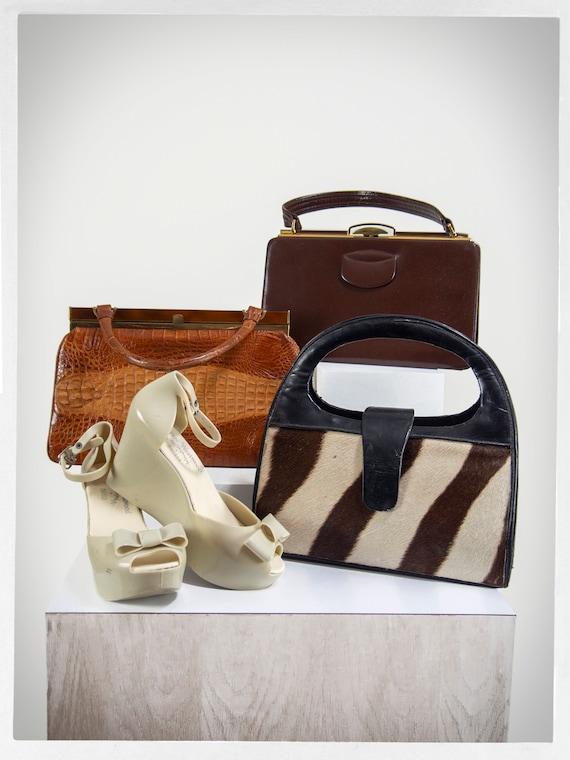 Retro 40s Purse, 50s Leather Purse, Top Handle Pu… - image 7