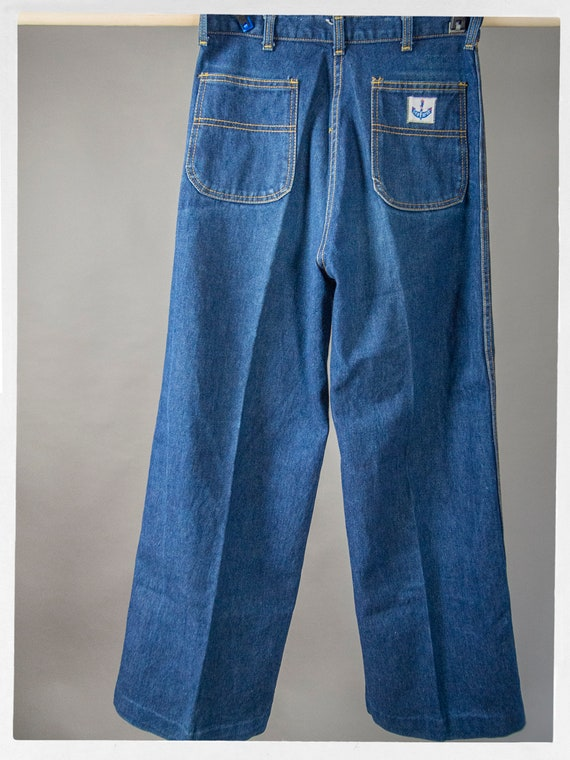 Vintage 70s Blue Jeans, Super Sweet High Rise Den… - image 7