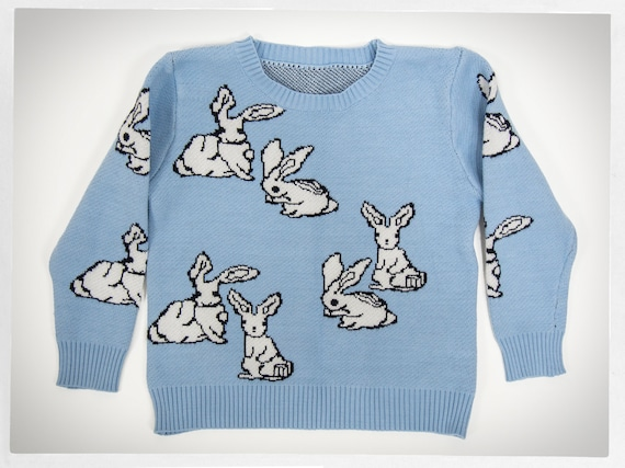 Cotton Knit Sweater, Bunny Jumper, Knit Bunny Pull