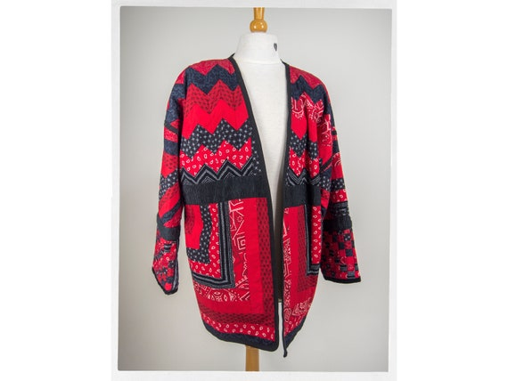 Vintage 80s Patchwork Jacket, Retro Hippie Jacket,