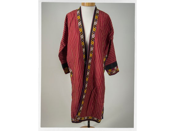 "Antique Silk Coat, ""Turkoman"" Embroidered Ethnic T"