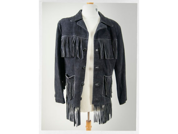 Vintage 80's Western Cowboy Suede Leather Fringe J