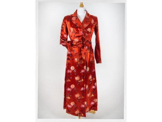 Vintage 60s Robe,  Vintage Satin Robe,  Asian Dres