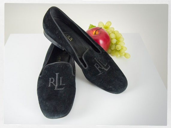 Retro 90s RALPH LAUREN Velvet Smoking Shoes, Pre-l