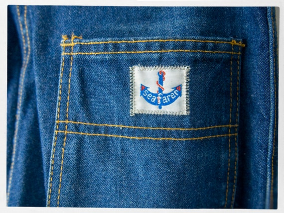 Vintage 70s Blue Jeans, Super Sweet High Rise Den… - image 5