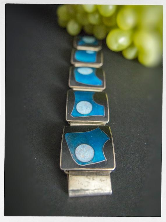 Vintage 50s Bracelet, Mid Century Modern Sterling… - image 4
