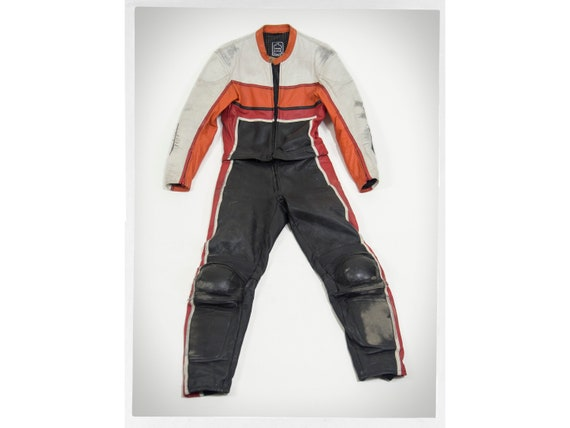 Retro 90s Jacket, Retro Cafe Racer Leathers, 80s M