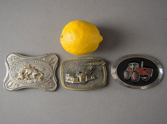 Vintage 70s Belt Buckles, Retro 70s Cowboy Belt Bu