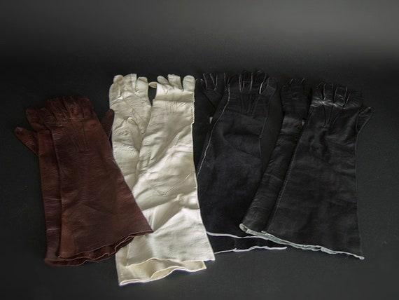 Vintage 50s Opera Gloves,40s Kid Leather Opera Glo