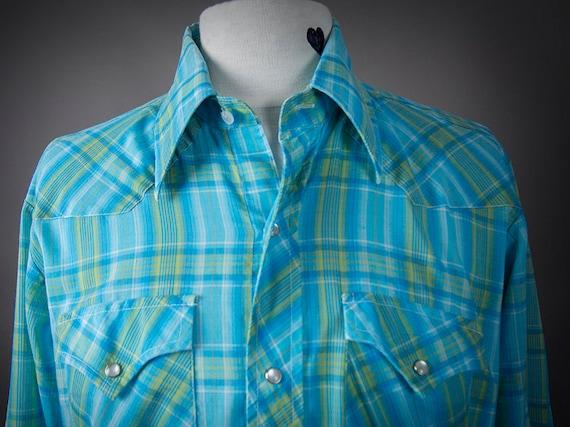Vintage 70s Western Shirt, 70s Rockabilly Shirt, R