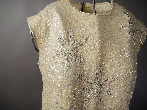 Vintage 50s Top, 50s Wool Sequin Top, Sparkle Bead