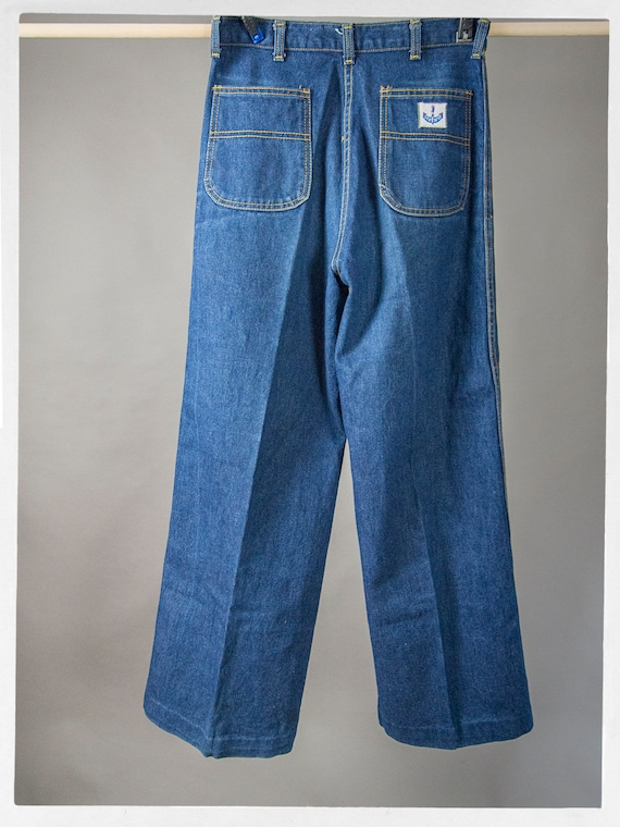 Vintage 70s Blue Jeans, Super Sweet High Rise Den… - image 6