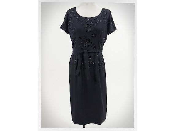 Vintage 50s Dress, 50s Cocktail Dress, 50s Beaded