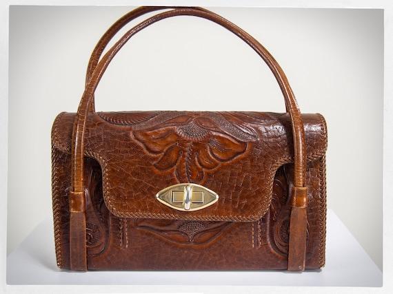Retro 60s Purse, Leather Western Bag, 60s Cowboy P