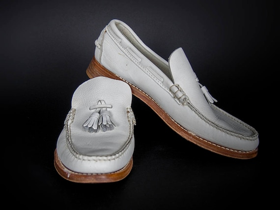 Vintage 50s  Men's Shoes, 50s White Shoes, Leather