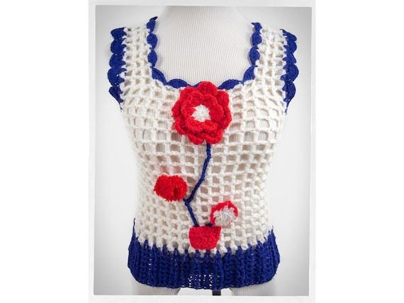 Handmade 70\u2019s Red Vintage Crocheted Sweater Vest