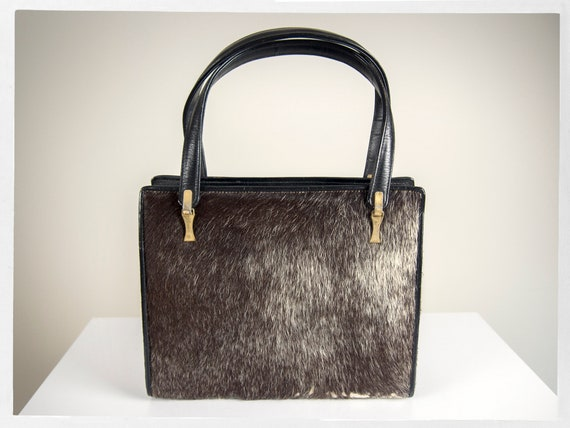 Vintage 40s Purse, Retro 40s Bag, 50s Pony Hair Pu