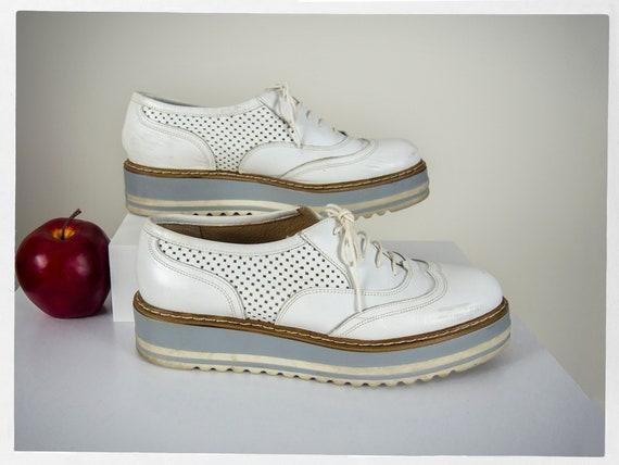 Retro 90s Platform Shoes, White Platform Shoes, Br
