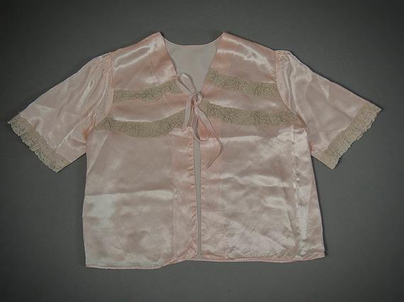 Vintage 40s Lingerie Jacket, Pink Satin Jacket, 50