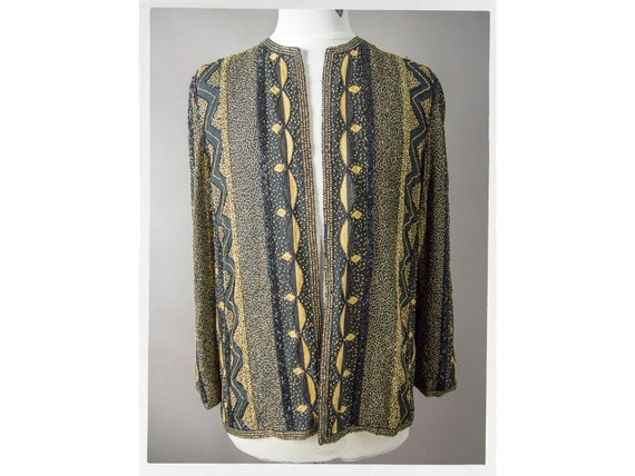 Vintage 80s Jacket, 80s Beaded Jacket,  Art Nouvea