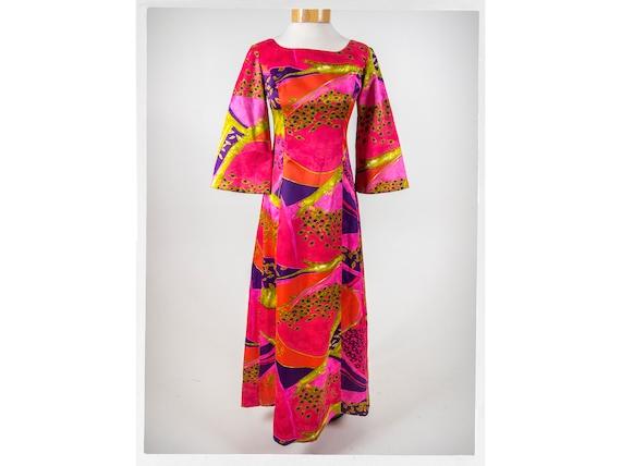 Vintage 60s Dress, Retro 60s Satin Dress, 60s Trop