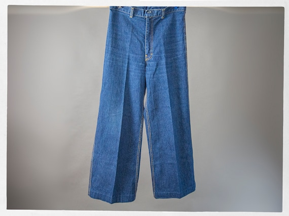 Vintage 70s Blue Jeans, Super Sweet High Rise Den… - image 1
