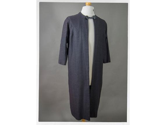 Vintage 60s Linen Coat,60s Black Linen Coat, Retro