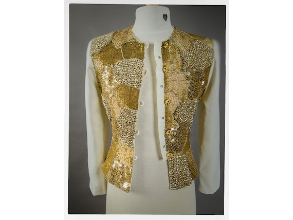 Retro 80s Gold Beaded Jacket, Stunning Heavy Gold