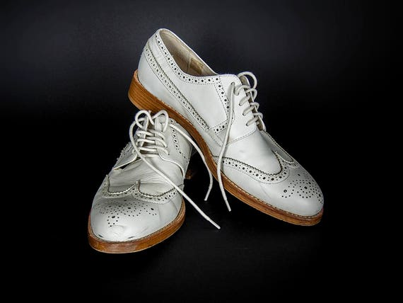 Vintage 80s Shoes, Retro 80s Wing Tip Brogue Shoes