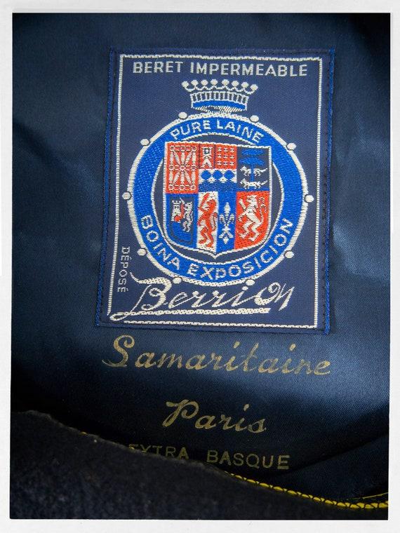Vintage French Beret, Wool Basque Hat, Large Wool… - image 3
