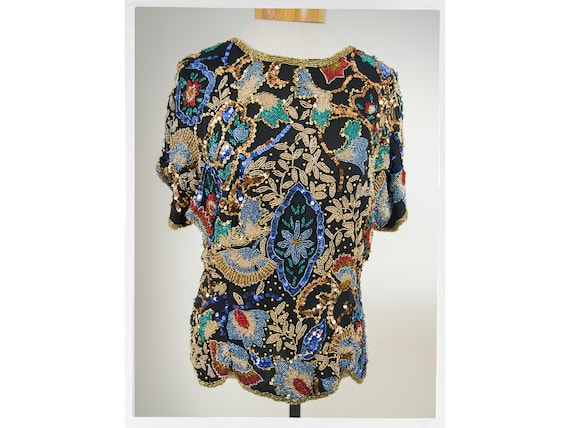Vintage 80s Beaded Top, 80s Stunning Beaded Top, V