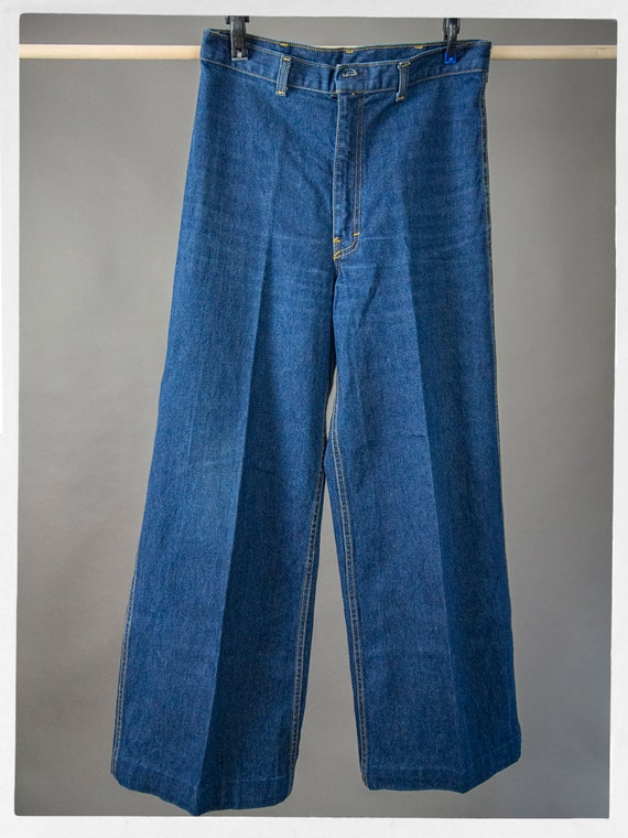 Vintage 70s Blue Jeans, Super Sweet High Rise Den… - image 2