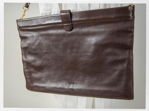 Vintage 80s Satchel, Huge Brown Leather Satchel, L