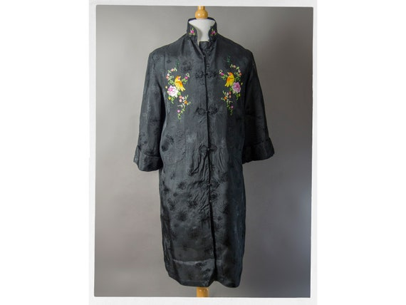 Vintage 60s Robe,Retro 50s Hand Embroidered Asian