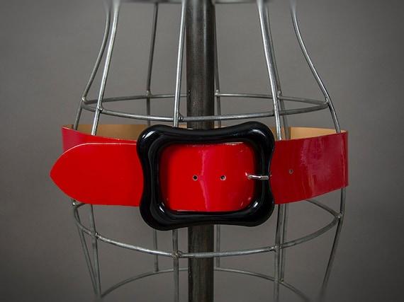 Retro 80s Belt,Bright Red Patented Leather Designe