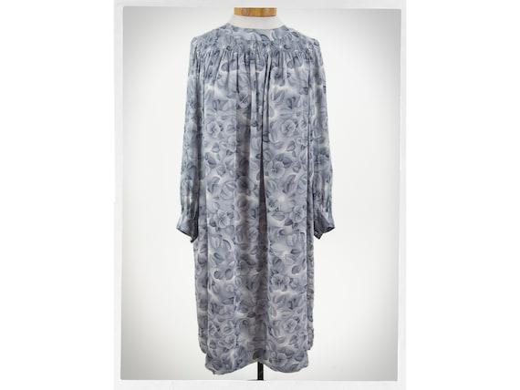 Retro 80s Dress, Retro Silk Dress, Grey Organza Dr