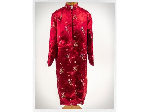 Vintage 70s Robe, Vintage Satin Robe, Asian Dressi