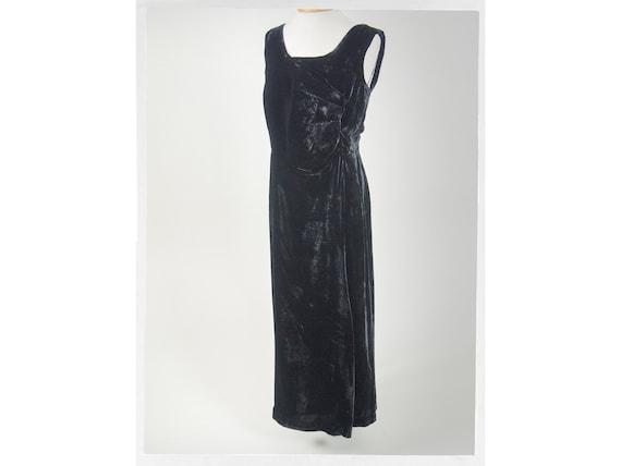 Antique 20s Velvet Dress, Empire Waist Victorian S