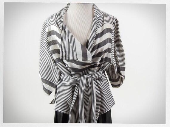 Vintage 90s Blouse, Linen Silk Blouse, Statement B