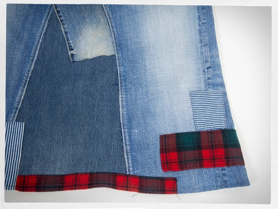 Handmade Patchwork Skirt, Patchwork Denim Skirt, … - image 5