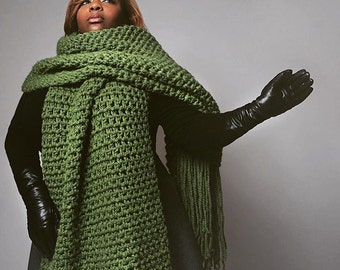 1fd96d3d85b The lenny kravitz scarf-Hand Crochet - Mens  Gift- Winter Scarf- Olive Green