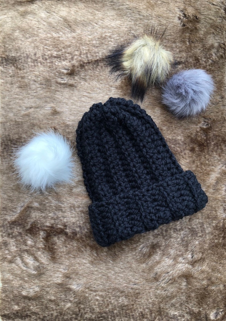6b85311dd6 Crochet ribbed beanie with removable faux fur pom pom | Etsy