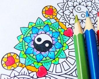 Yin Yang Coloring Etsy