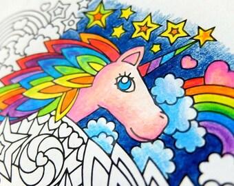 Rainbow Unicorn Mandala Coloring Page Printable Coloring Page Etsy