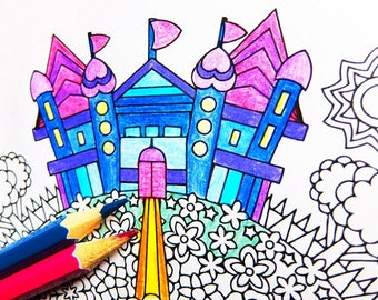 Mandala Coloring Page - Finding the Castle - instant download mandala art coloring page; rainy day and under the weather activity
