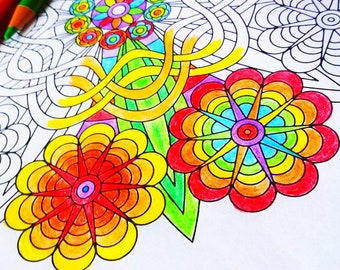 Mandala Coloring Page - Flower Power - instant download art to print and color