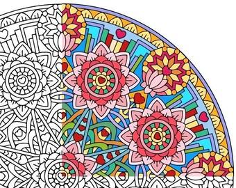 Mandala Coloring Page - Equanimity (Upekkha) - printable coloring page - adult coloring pages - mindfulness calm lotus flowers