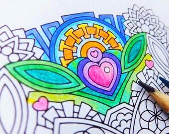 Mandala Coloring Page - Empathic Joy (Mudita) - printable coloring page - adult coloring pages - mindfulness celebration love
