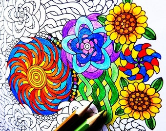 Mandala Coloring Page - Flowers of Summer - coloring page for adults to print and color